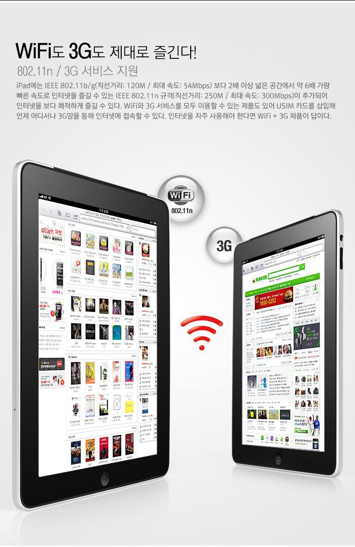 Wi-Fi도 3G도 제대로 즐긴다!                                     802.11n / 3G 서비스 지원                                     iPad에는 IEEE 802.11b/g(직선거리: 120M / 최대 속도: 54Mbps) 보다 2배 이상 넓은 공간에서 약 6배 가량 빠른 속도로 인터넷을 즐길 수 있는 IEEE 802.11n 규격(직선거리: 250M / 최대 속도: 300Mbps)이 추가되어 인터넷을 보다 쾌적하게 즐길 수 있다. Wi-Fi와 3G 서비스를 모두 이용할 수 있는 제품도 있어 USIM 카드를 삽입해 언제 어디서나 3G망을 통해 인터넷에 접속할 수 있다. 인터넷을 자주 사용해야 한다면 Wi-Fi + 3G 제품이 답이다.