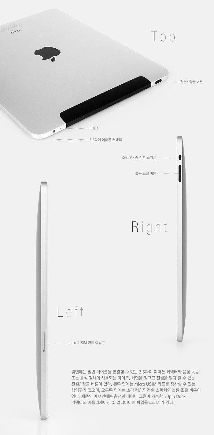 윗면에는 일반 이어폰을 연결할 수 있는 3.5파이 이어폰 커넥터와 음성 녹음 또는 음성 검색에 사용되는 마이크, 화면을 잠그고 전원을 껐다 켤 수 있는 전원/ 잠금 버튼이 있다.                                     왼쪽 면에는 micro USIM 카드를 장착할 수 있는 삽입구가 있으며, 오른쪽 면에는 벨소리/ 무음 전환 스위치와 볼륨 조절 버튼이 있다.                                     제품의 아랫면에는 충전과 데이터 교환이 가능한 30pin Dock 커넥터와 어플리케이션 및 멀티미디어 파일용 스피커가 있다.