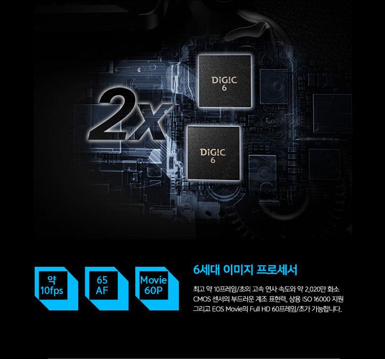 6세대 이미지 프로세서 : 최고 약 10프레임/초의 고속 연사 속도와 약 2,020만 화소 CMOS 센서의 부드러운 계조 표현력, 상용 ISO 16000 지원 그리고 EOS Movie의 Full HD 60프레임/초가 가능합니다.