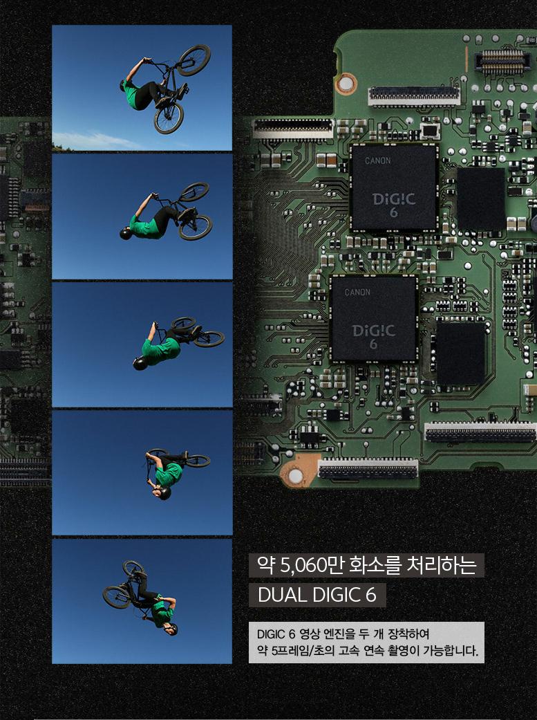 약 5,060만 화소를 처리하는 DUAL DIGIC 6:DIGIC 6 영상 엔진을 두 개 장착하여 약 5프레임/초의 고속 연속 촬영이 가능합니다.